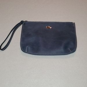 Blue Roots Leather Wristlet